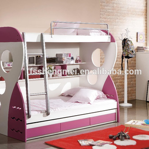 Space saving MDF kids teen children bedroom furniture bunk bed with ladder guard rail