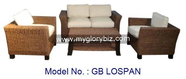Modern Waterhiacynth Rattan Sofa Set Indoor Furniture With Rectangular Table, Loveseat And Armchair Design For Living Room