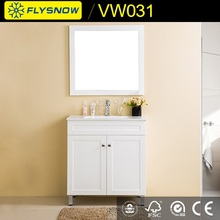 white solid wood free standing bathroom corner cabinet