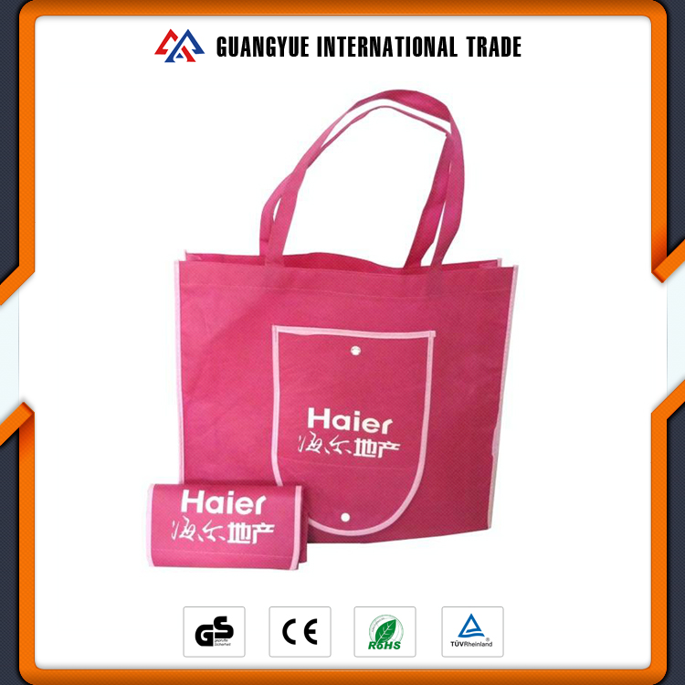 Guangyue Promotional Cheap Pink PP Non Woven Foldable Tote Shopping Bag