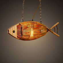 European Contemporary decorative hanging chains chandelier lamps fish shaped wooden ceiling pendant lights modern bamboo 2016