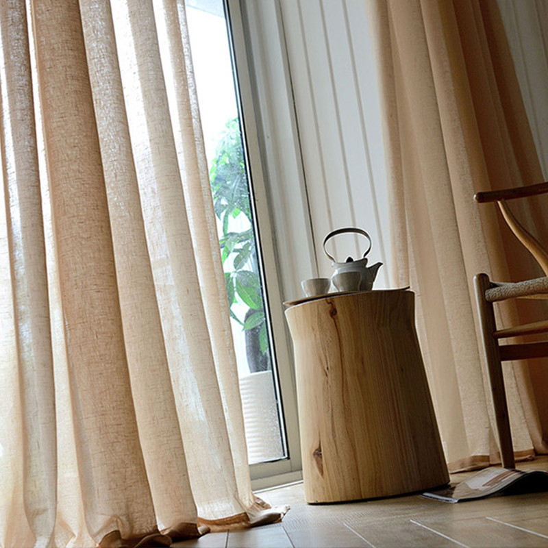 Flax sheer 100% Polyester voile fabric curtain