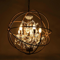 Retro personality lamp, wrought iron ball, crystal droplight villa lamp creative restaurant