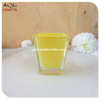 square shape yellow interior glass scented candle jar soy candle holder