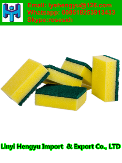 wholesale promotional abrasive kitchen cleaning scourer nylon mixed polyester sponge scouring pads