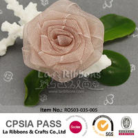 Solid Color Organza Ribbon Rose Trim Flower