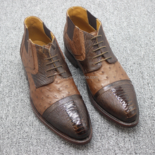 Heyco brown high quality custom mens exotic animal ostrich skin leather shoes