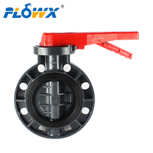 Manual Hand lever Plastic CPVC PVC UPVC butterfly valve, Plastic butterfly valve with worm gear