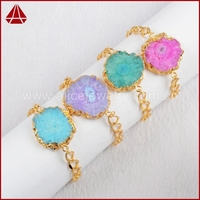 Gold Layered Gold Edged Hot Pink Aqua Solar Quartz Bracelet With Gold Plated Chaingle Quartz Jewelry