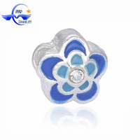 Yiwu Custom Blue and Light Blue FLower Shape European Alloy Bead Landing Crafting Beads Fashion Cheap Items For Sale in Bulk
