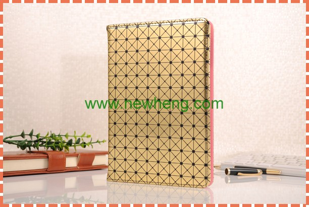 High quality Grid patern Stand leather flip case for ipad mini 4