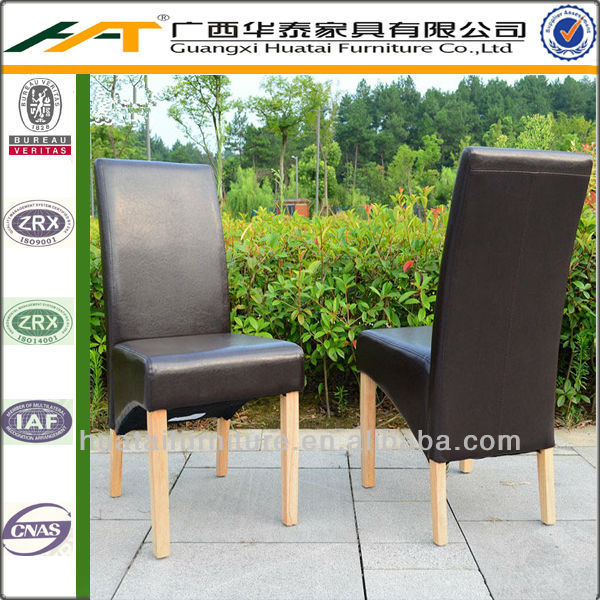 New design scroll high back solid wood dining chair hotel furniture PU leather dining chair restaurant chair