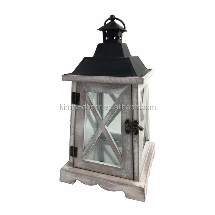 Cross shape white brush wooden candle lantern with black metal top