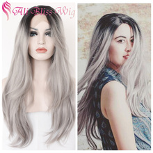 "22"" Heat Resistant Fiber Hair Natural Scalp Thick Long Wavy Silver Two Tone Grey Ombre Synthetic Lace Front Wig for Black Women"