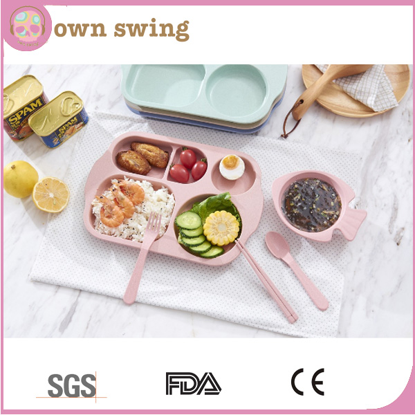 Break Resistant Foodgrade Eco-friendly Wheat Straw Biodegradable Kids Plate Set Including Knife Fork Spoon