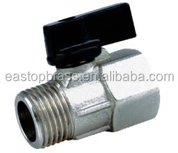 Male to female Brass mini Ball Valve supplier with butterfly handle