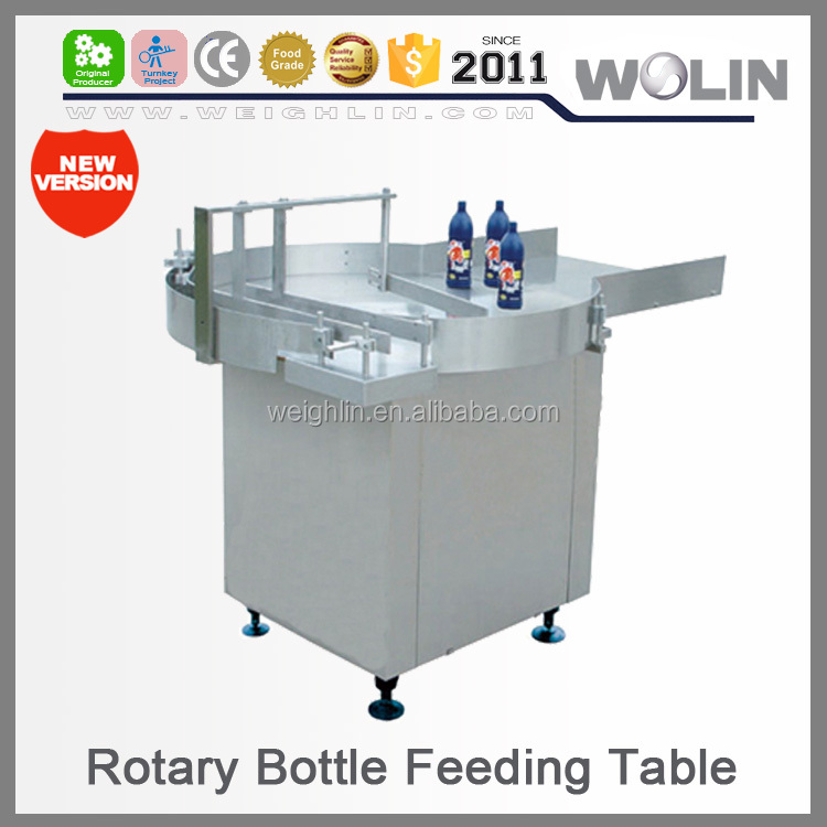 Welin mini rotating rotary plastic glass bottle feeding table for downstream filling packaging sealing food packaging line