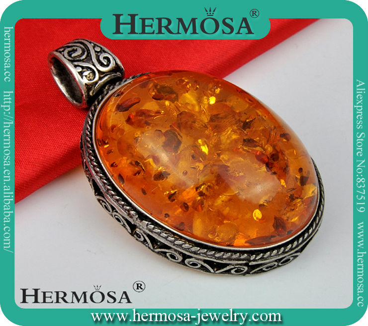 Sterling Silver Antique Cameos Genuine Honey Real Amber Big Solitaire Pendant P010