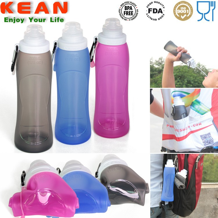 Custom Logo Welcomed OEM LFGB squeeze bottle Silicone Foldable Water Bottle