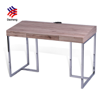 Canton fair metal laptop desk study table wooden modern simple computer desk design with socket computer table
