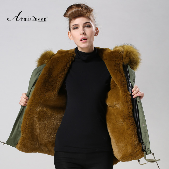 Unisex Top Short Fashion Grass Green Faux Fur Lined khaki Fur Parka