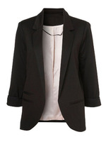 Blazers latest fashion design women clothing Black Boyfriend Ponte Rolled Sleeves Blazer