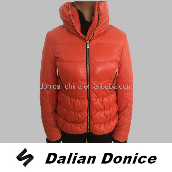Orange lamb leather woman jacket winter coat 90/10 duck down jacket women winter 2016