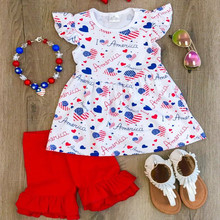 New arrived 4th of July girls outfits wholesale kids clothing for national day boutique clothing cotton patriotic girl sets