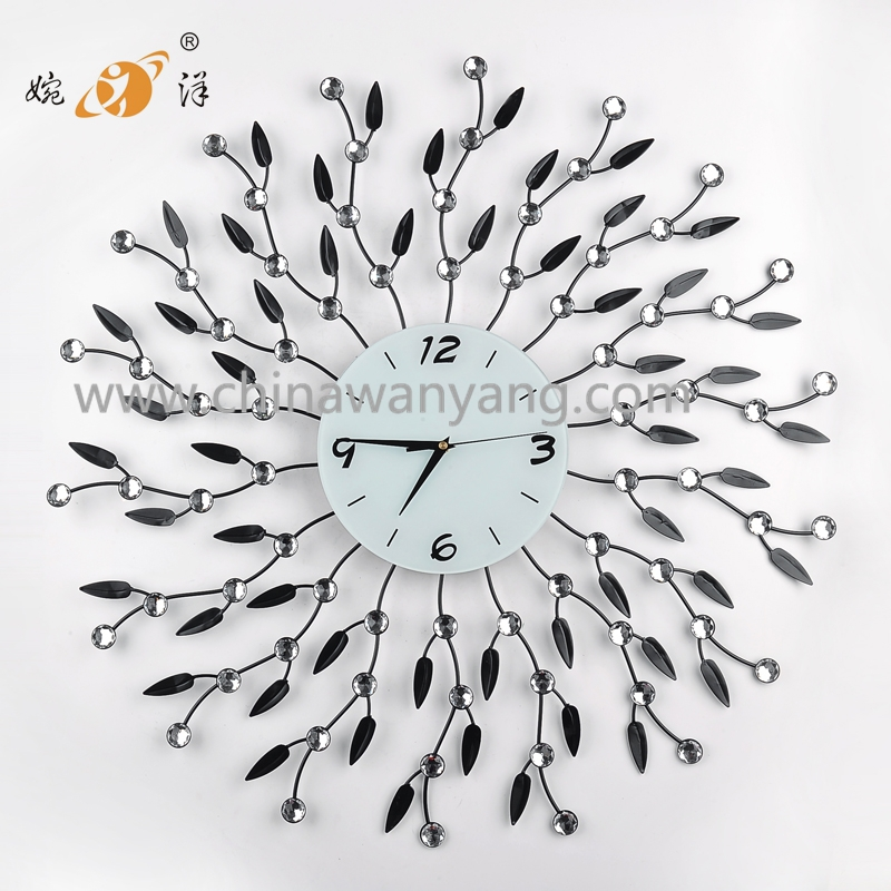 Metal wall digital clock with crystal and leaf