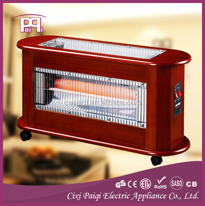 Portable quartz electric wooden heater three faces 2400W