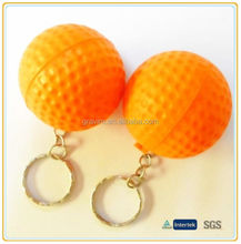 2014 New Custom Bulk Orange PU Foam Golf Ball Keychains Wholesale Promotion