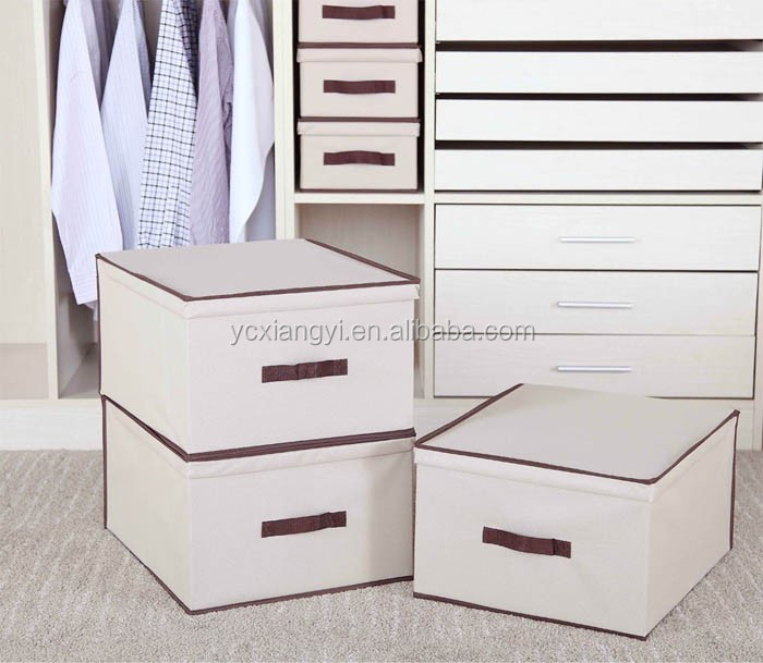 Wonderful New Arrival Feather Design Fabric Folding Window Handle Lid Storage Boxes  Cube