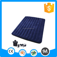 Newest luxury intex inflatable air bed, wine red round flocking wholesale air mattress bed