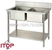 2 bowl stainless steel sink with drainer