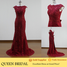 New Fashion Sleeveless Appliqued Lace Red Mermaid Wedding Dress Patterns