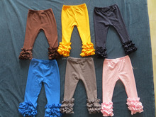 Boutique solid color baby pants girls baby clothes XXL size c ruffled one pair YW-00147