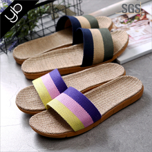 fashion summer color slippers comfortable linen slippers for indoor