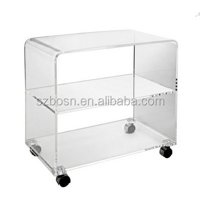 Clear Acrylic Waterfall TV Table with Middle Shelf and Rotating Casters Wholesale