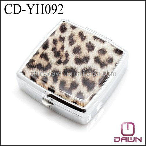 Printed Metal Square Pill Box with 2 divider CD-YH092