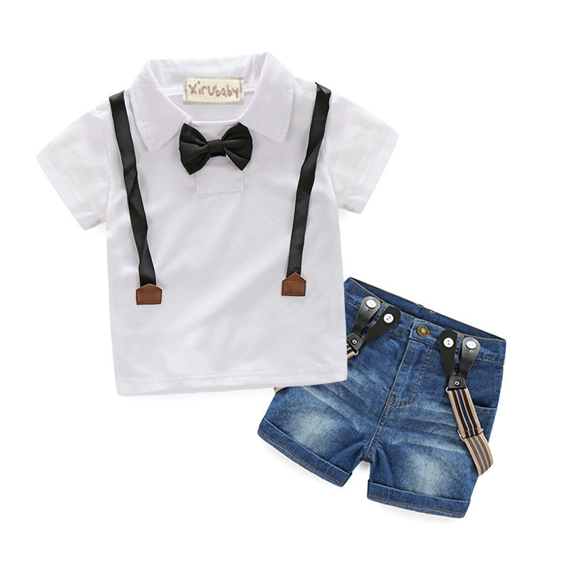 Gentleman Retail young children casual summer boys clothing sets shirt + jeans 2pcs boys suits child suit Free Shipping