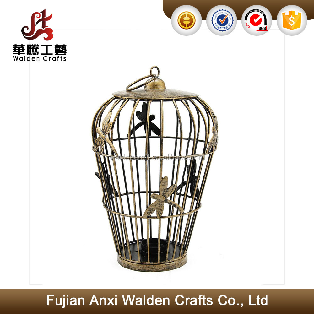 Decorative copper finish metal birdcage tea light candle holder lantern with dragonfly accents