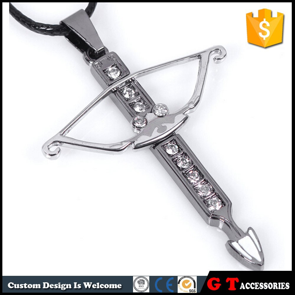 Personalized Bow And Arrow Pendant Necklace Rhinestone, Lastest Model Fashion Necklace For Men