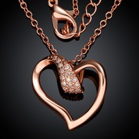 N018-B 2015 Factory Price Valentine's Day Gift Rose Gold Plated High Quality Copper CZ Women Heart Pendant Necklace