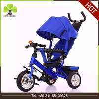 Factory in china canopy tricycle three wheel dark blue wholesale baby tricycle with brake