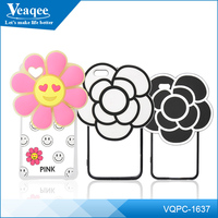 Veaqee Soft Silicon 3D Camellia Flower Mobile Phone Cases Back cover For iPhone 6 6plus