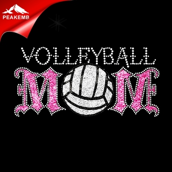 volleyball wholesale rhinestone transfer appliques iron on T shirts