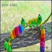 Hypoallergenic Jewelry Eco-friendly Rainbow Caterpillar Bracelet Green Inchworm Polymer Clay Beaded Bracelet