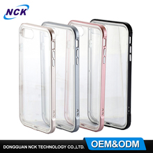 MOQ=100pcs free sample transparent TPU colorful PC frame 2 in 1 combo case for iphone 6s 7 7plus