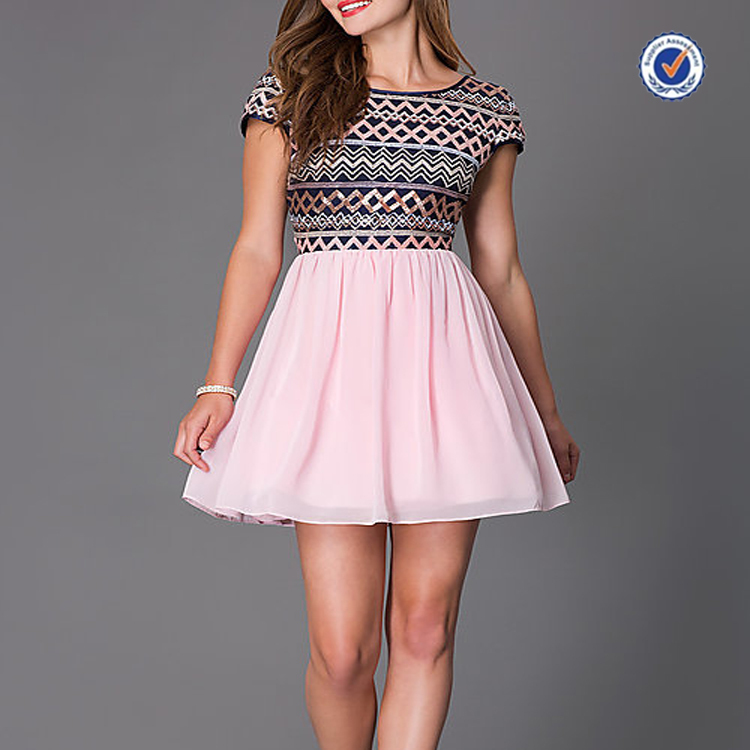Short gambar dress with sequin mini V back embellished short sleeve bodice