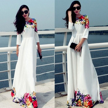 2016 women clothing White Summer Sexy Evening Party Dresses Long Sleeve Cocktail Maxi Long dresses